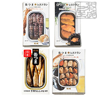 K&K 缶つまレストラン 魚介系 4種セット(シャコ、うに、貝柱、ムール貝) 缶詰 おつまみ